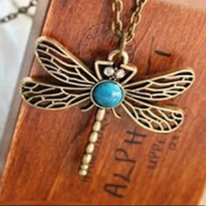 Dragonfly Art Nouveau Inspired Long Necklace